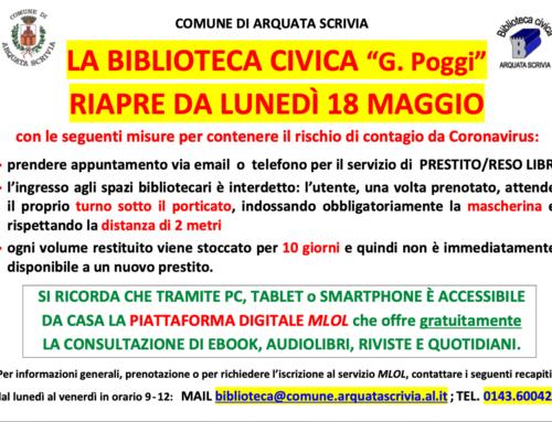 """La Biblioteca Civica """"G. Poggi"""" di Arquata Scrivia riapre da lunedì 18 maggio"""